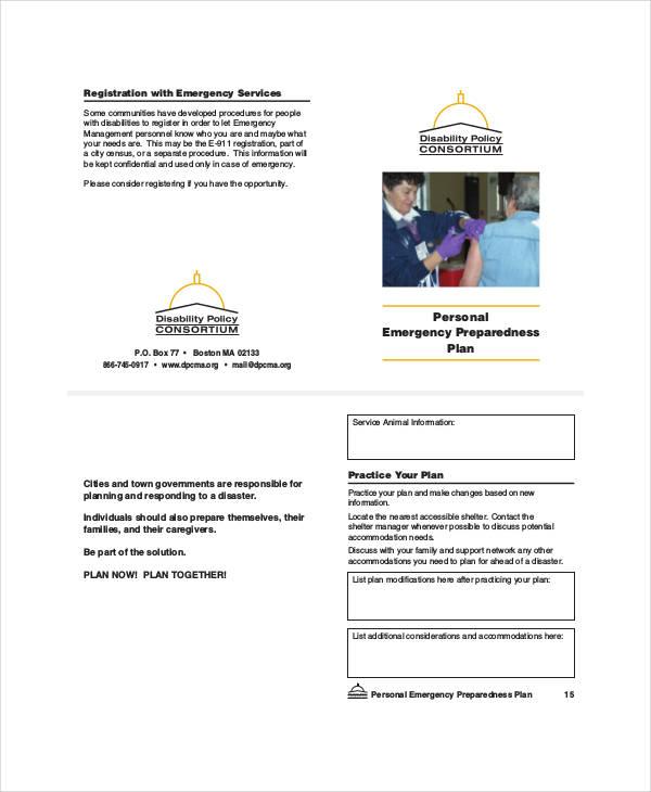 personal emergency preparedness plan