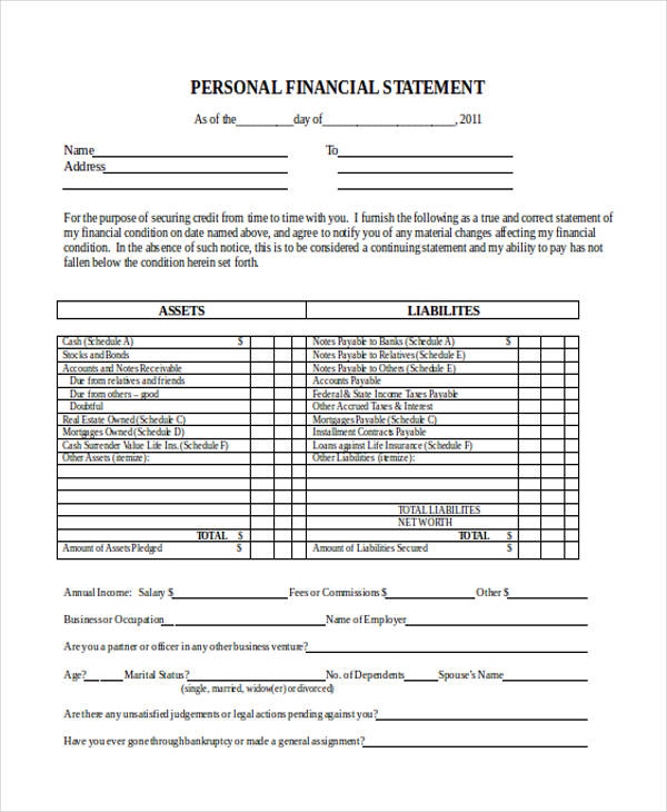 personal financial statement1