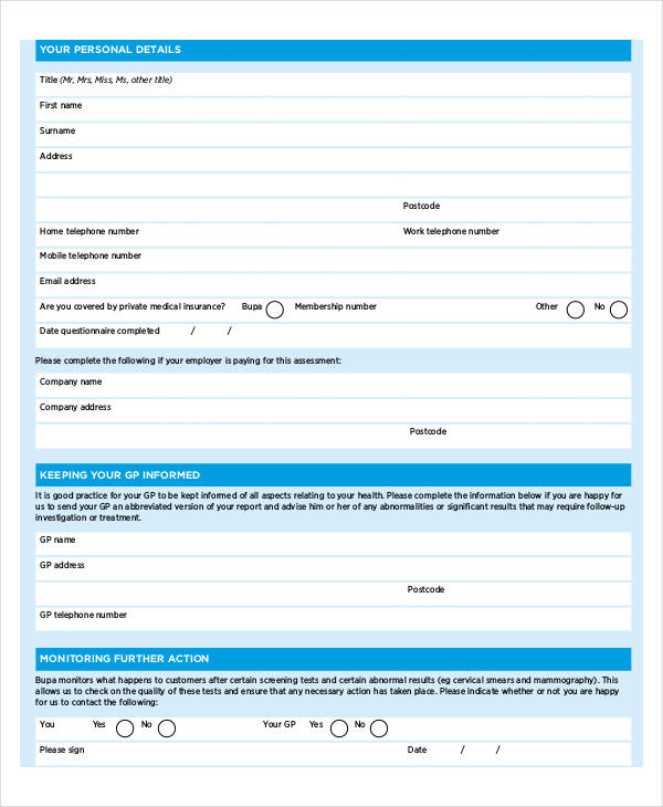 personal fitness assessment questionnaire1