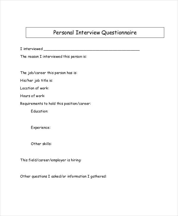 personal interview questionnaire
