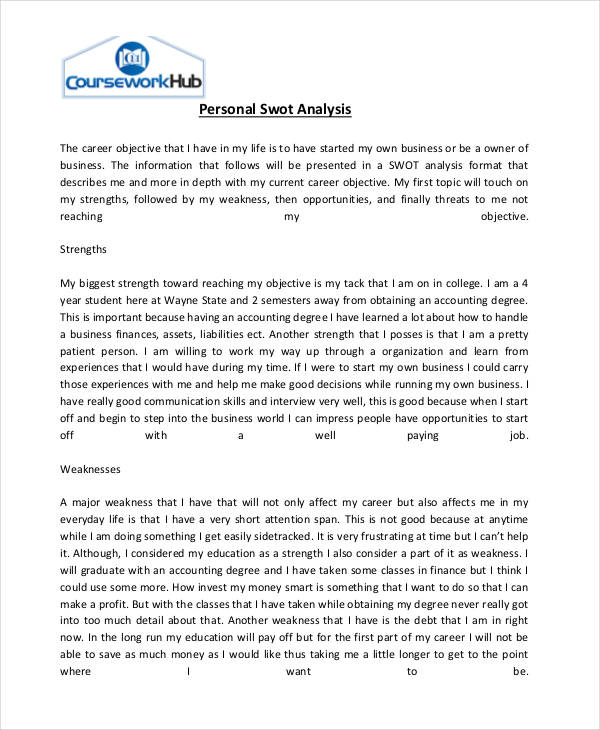 Charming Personal Swot Analysis  Example Swot Analysis Paper