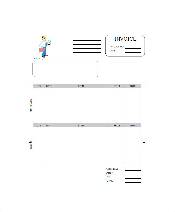 Construction Invoice Examples Samples
