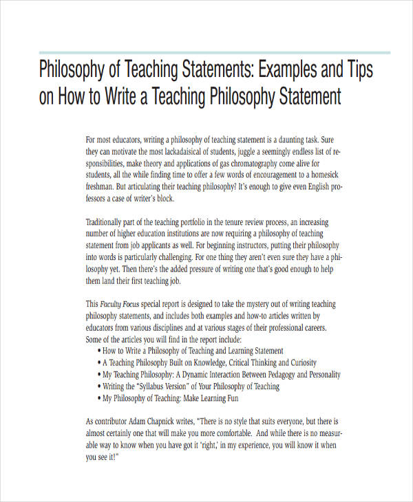 personal education philosophy statement Essential components of a philosophy of education statement your personal philosophy of education statement should include the following: your perception of teaching: here you describe what teaching means to you, your teaching processes, and how you can facilitate those processes as an educator issues such as motivating students, facilitating the learning process, how to challenge students.