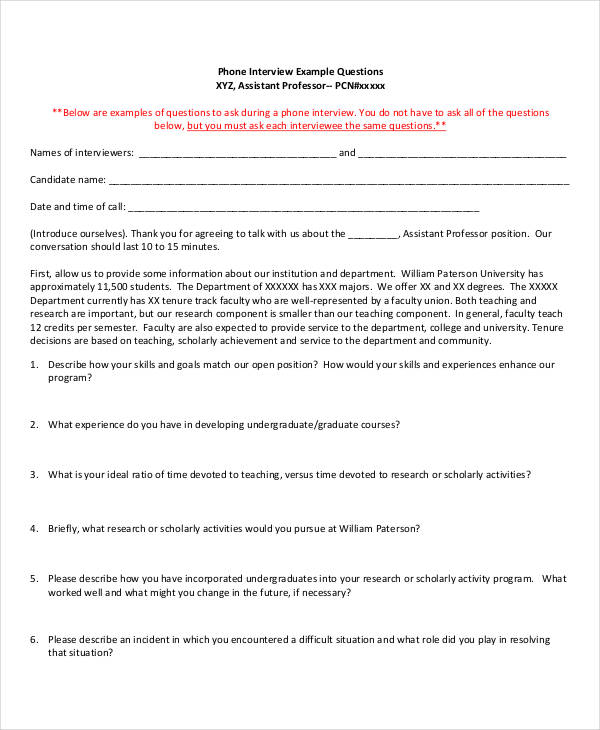 Job interview questionnaire form: sample forms.