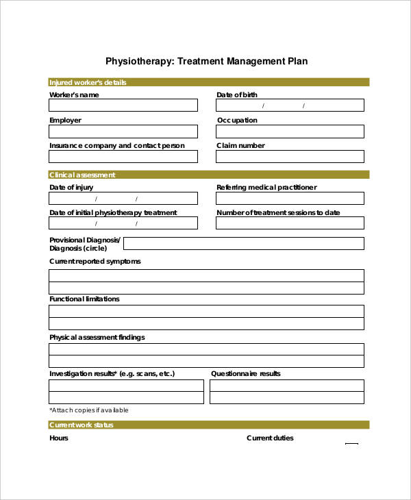 physiotherapy treatment plan
