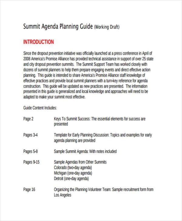 planning day agenda