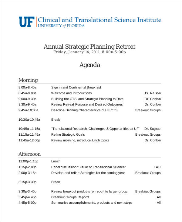 planning retreat agenda