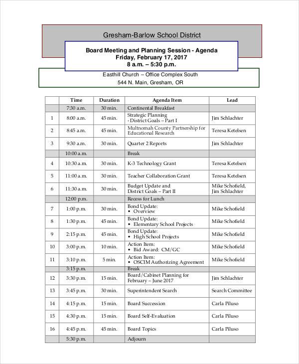planning session agenda
