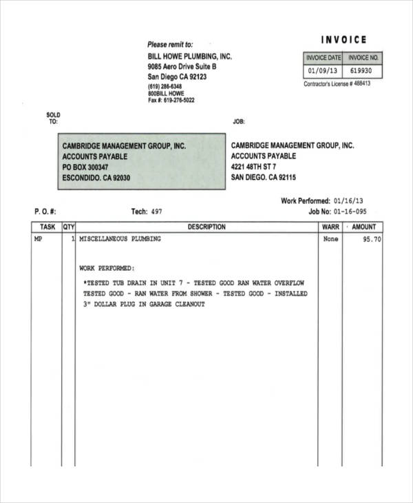 Plumbing Invoice Examples  Samples