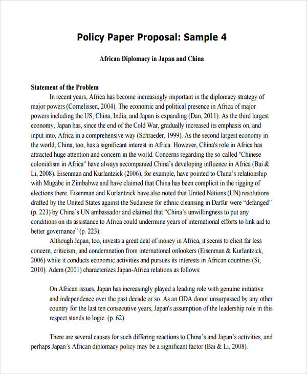 Policy Proposals Examples  Samples  Examples Policy Paper Proposal