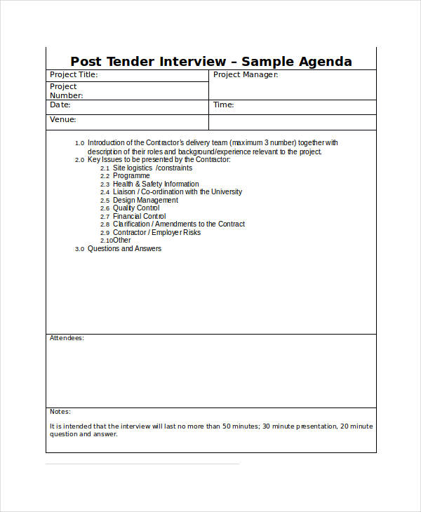 post tender interview agenda