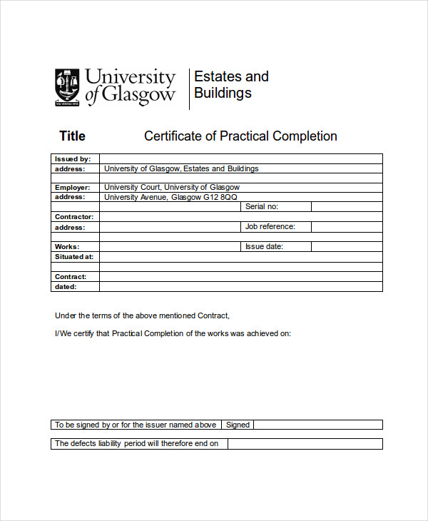 practical completion certificate sample