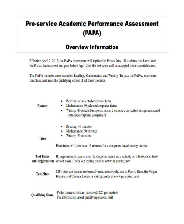 pre service academic assessment