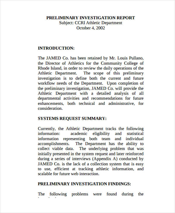 9 Investigation Report Examples Samples