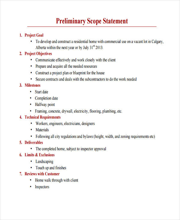 7 scope statement examples samples pdf preliminary scope example malvernweather Images