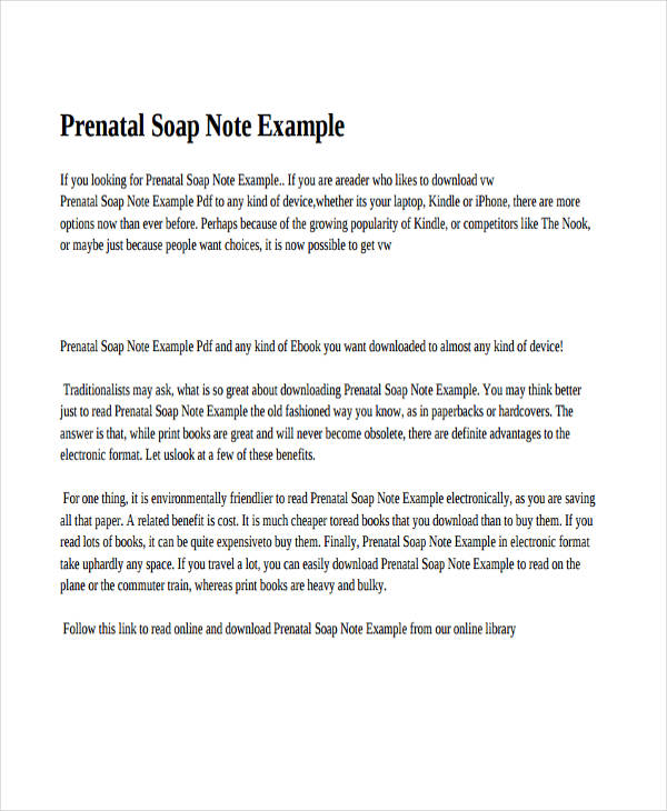Soap Note Example Sample Soap Note Documents In Word Pdf For