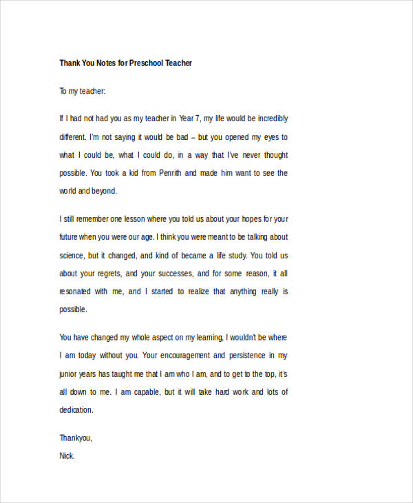 Thank You Letter To Teacher. Preschool Teacher Thank You Note 42+ ...