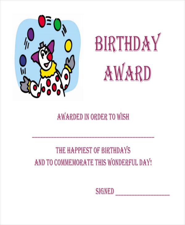 printable birthday award certificate