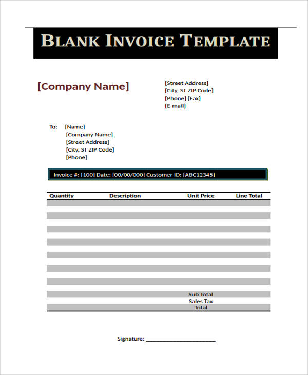 Printable Invoice Examples  Samples