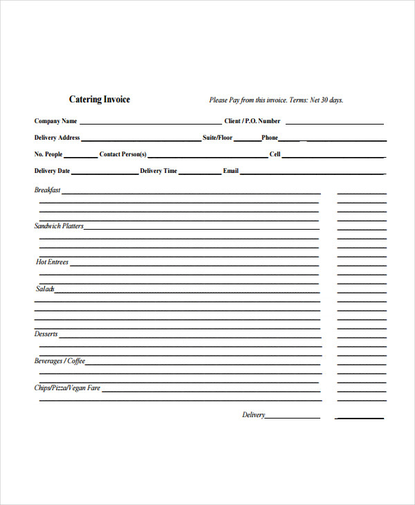 Catering Invoice Examples Samples