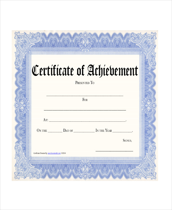 printable certification sample