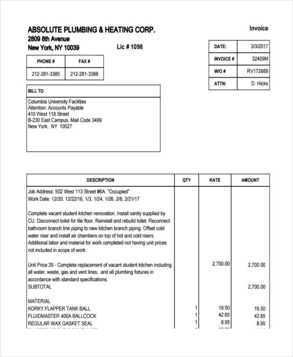 8+ Plumbing Invoice Examples & Samples - Word, PDF | Examples