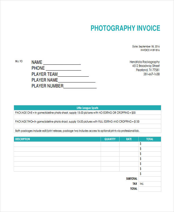 printable photography invoice