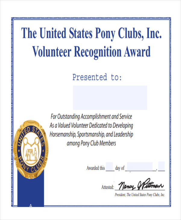 27 award certificate examples samples printable volunteer award certificate yelopaper Image collections