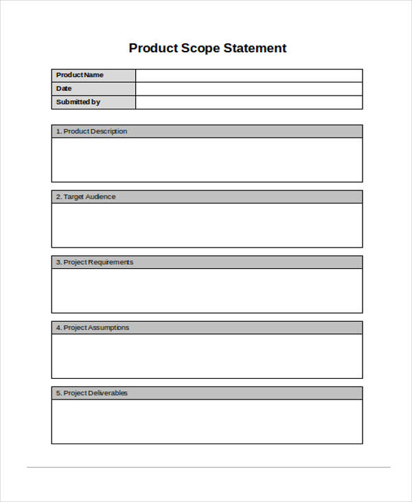 product scope statement