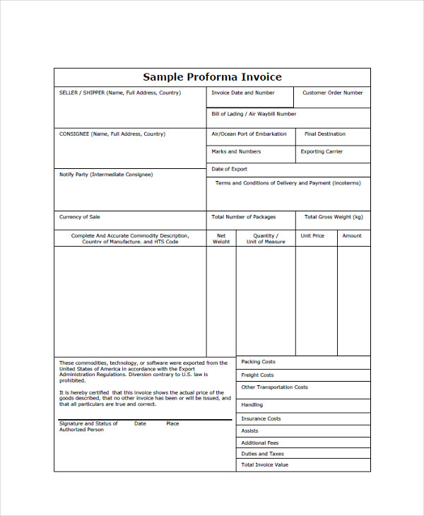Invoice Form Exam Com  Commercial Invoice Templates  Download