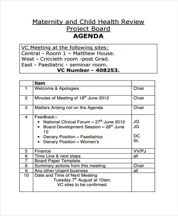 board agenda template 9  Board Agenda Examples, Samples