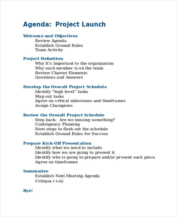 project launch agenda