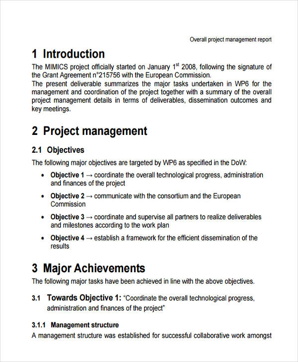 Management Report Examples Samples