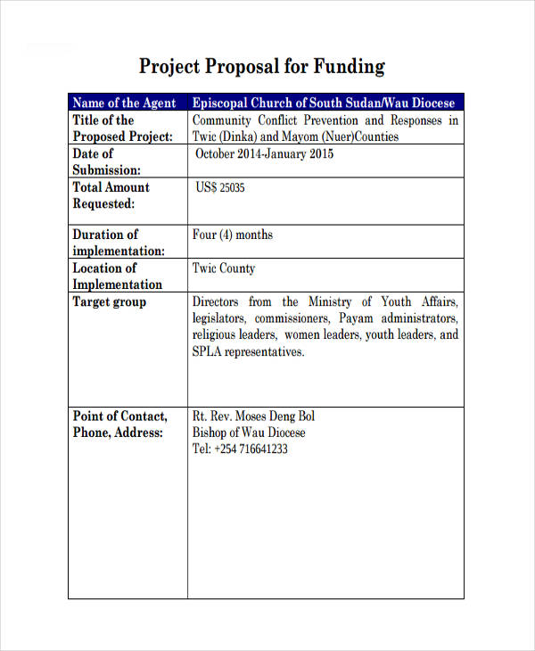 Project Proposal For Funding  Proposals Templates