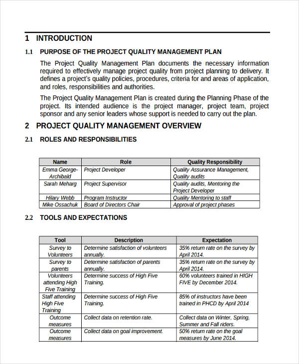Management Plan Examples