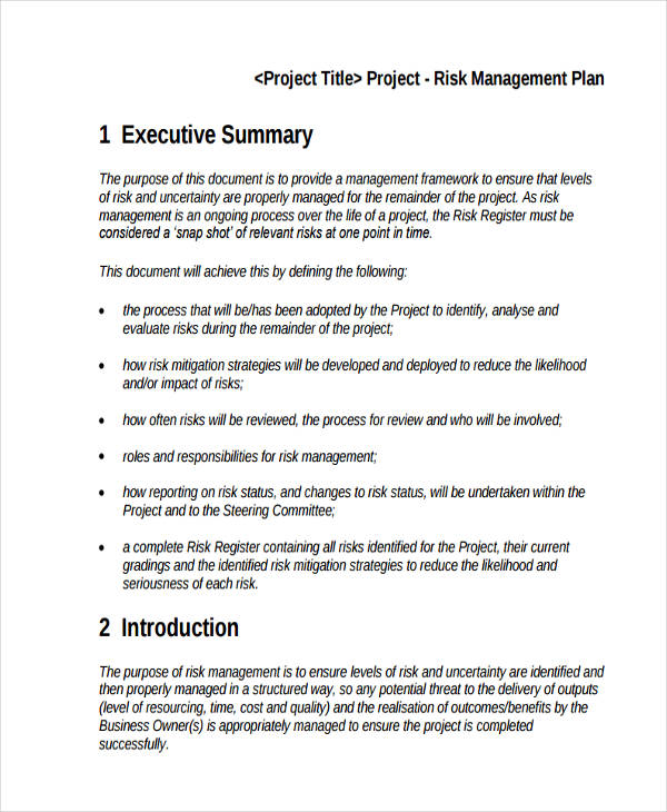 47 management plan examples pdf word pages project risk management plan wajeb Gallery