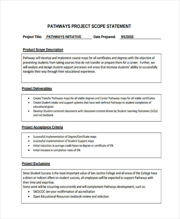 7 scope statement examples samples pdf project scope statement malvernweather Images