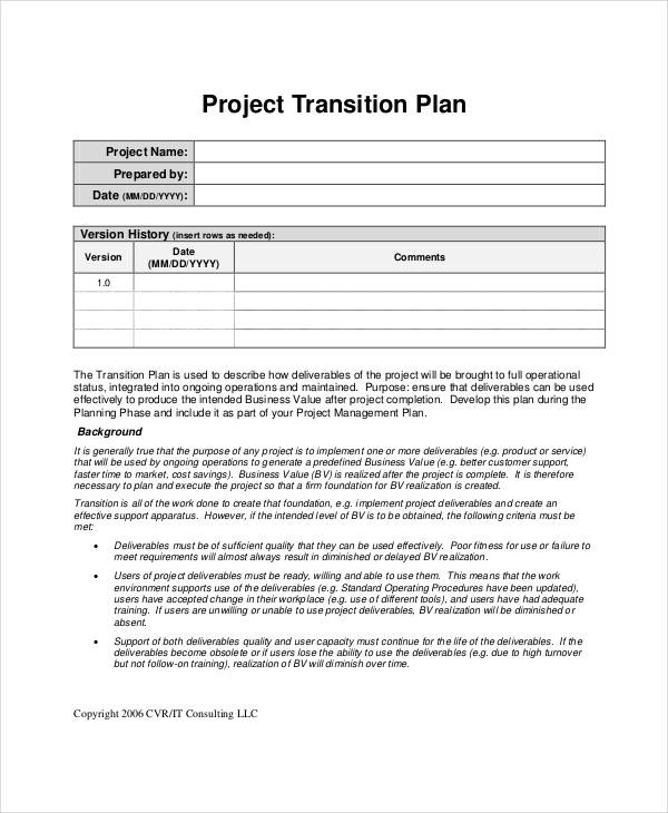 project transition action plan
