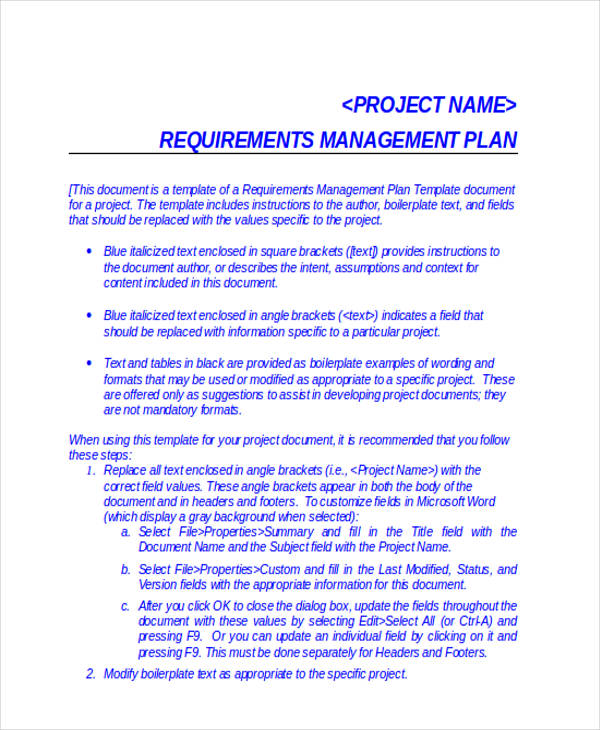project requirements management plan