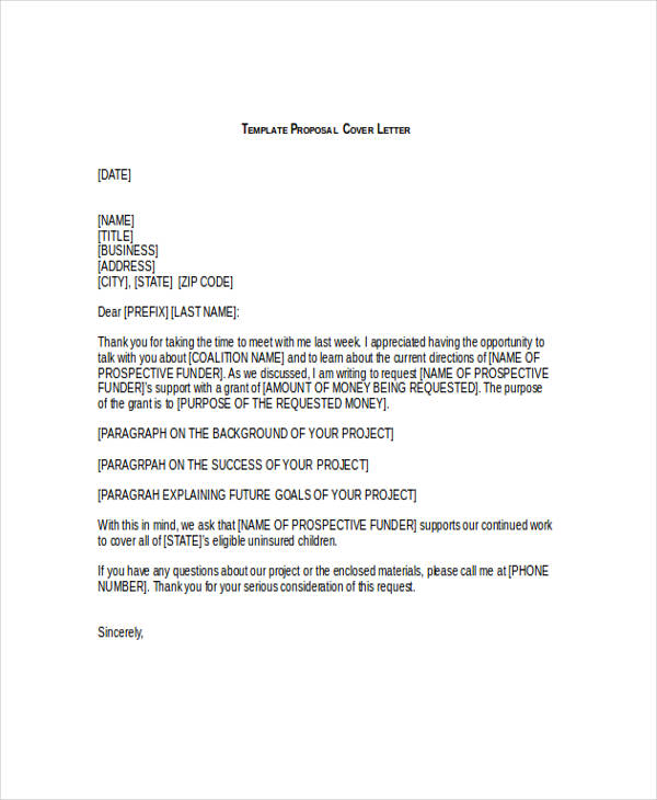 Sample Cover Letter Business Proposal: 57+ Proposal Templates And Examples