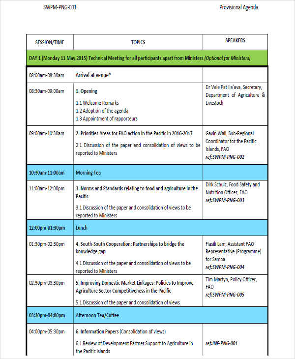 provisional agenda template1
