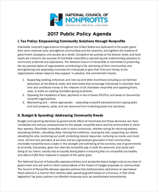 8 Policy Agenda Examples Samples