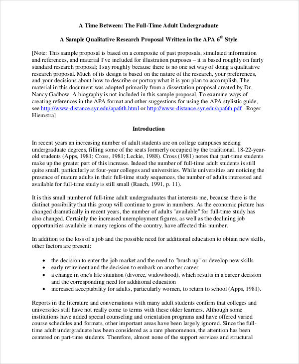 qualitative research - Proposal Example