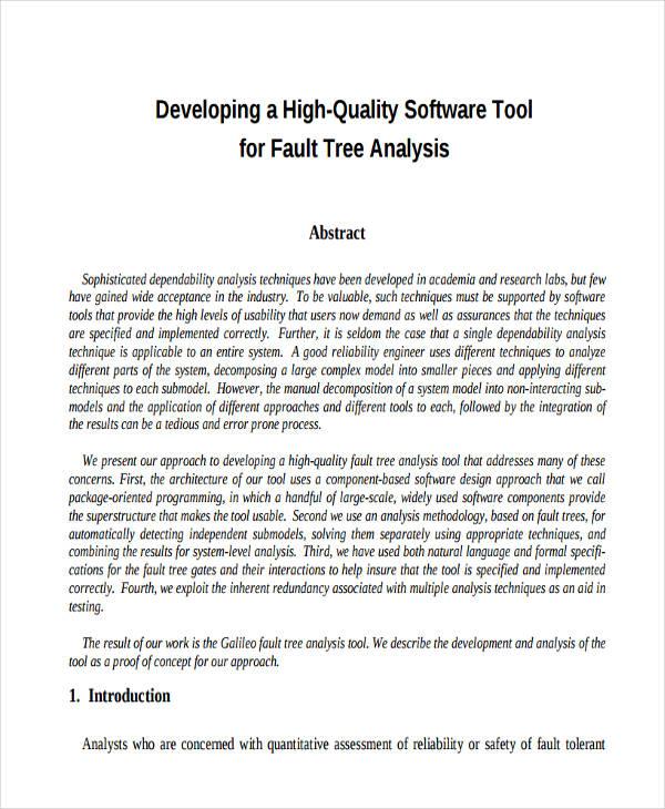 quality fault tree sample