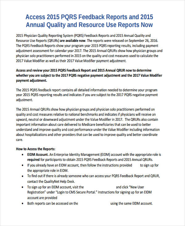 quality feedback report