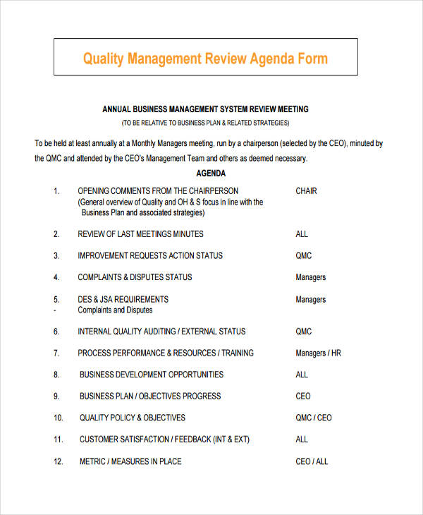 quality management review sample