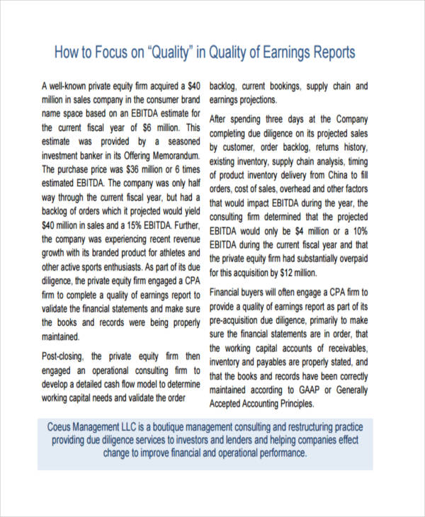 quality of earnings report