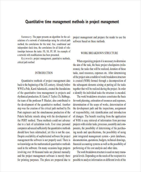 quantitative project management