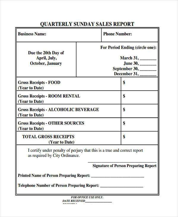 quarterly sunday sales report