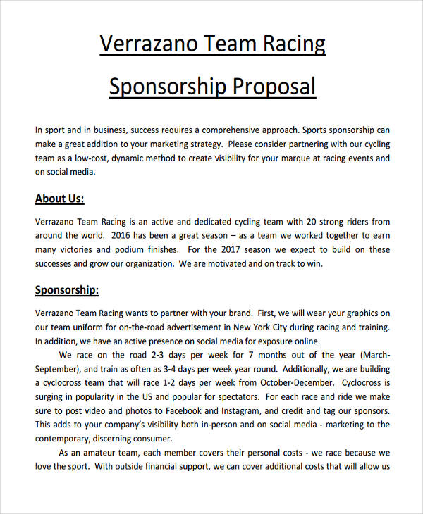 10 sponsorship proposal examples samples pdf word pages for Motorsports sponsorship proposal template